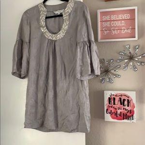 Trina Turk gray silk dress